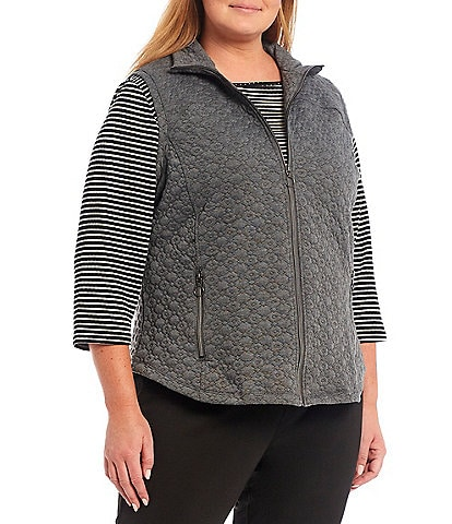 Ruby Rd. Plus Size Quilted Knit Stand Collar Zip Front Sleeveless Vest
