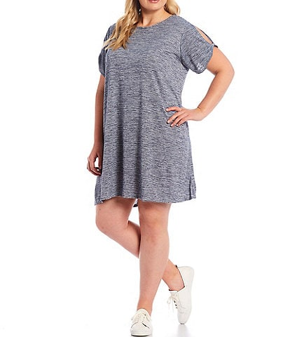 Ruby Rd. Plus Size Silky Knit Terry Space Dyed Stripe Scoop Neck Cold Shoulder Short Sleeve Dress