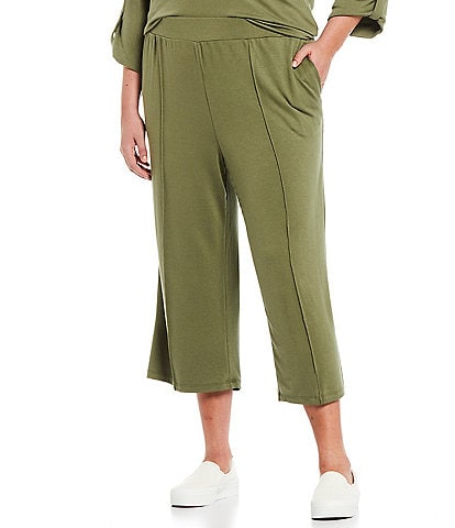 Ruby Rd. Plus Size Soft French Terry Wide-Leg Pull-On Capri Sweatpants