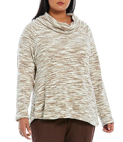 Ruby Rd. Plus Size Space Dye Chenille Cowl Neck Long Raglan Sleeve Pullover