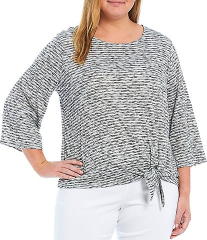 Ruby Rd. Plus Size Space Dye Stripe Puckered Knit Bell Sleeve Side Tie Front Top