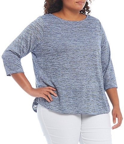 Ruby Rd. Plus Size Space Dyed Stripe Jewel Neck 3/4 Sleeve Top