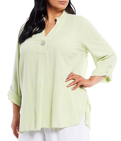 Ruby Rd. Plus Size V-Neck Stand Collar Roll-Tab Sleeve Top