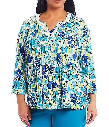 Ruby Rd. Plus Size Watercolor Blossom Print Embellished Notch V-Neck Peasant Top