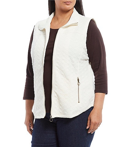 Ruby Rd. Plus Size Zip Front Quilted Knit Vest