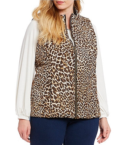 Ruby Rd. Plus Size Zipper Front Animal Print Reversible Vest