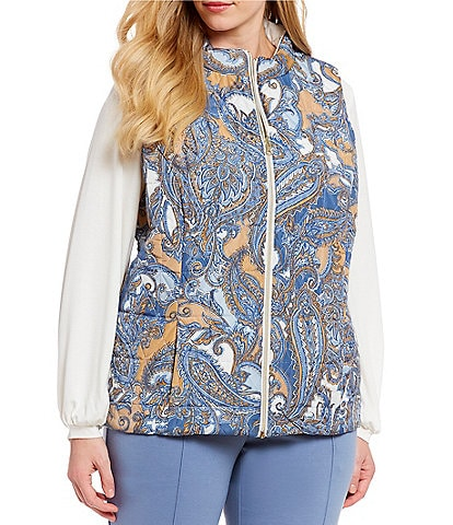 Ruby Rd. Plus Size Zipper Front Solid-Print Quilted Reversible Vest