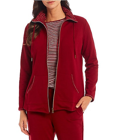 Ruby Rd. Polka Contrast Trim Mock Neck Long Sleeve Coordinating Zipper Front French Terry Jacket