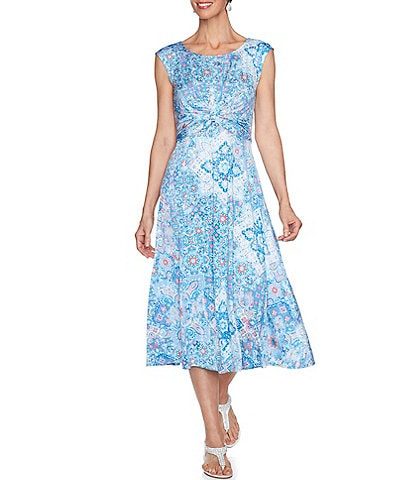 Ruby Rd. Printed Ballet Neck Sleeveless Twist Detail Midi Dress