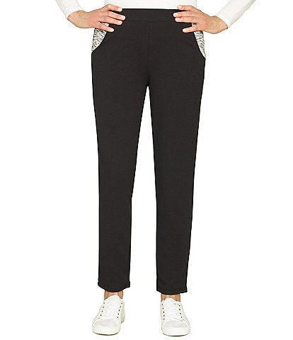 Ruby Rd. Pull-On Straight Leg Space Dye Pocket Mid Rise Pants