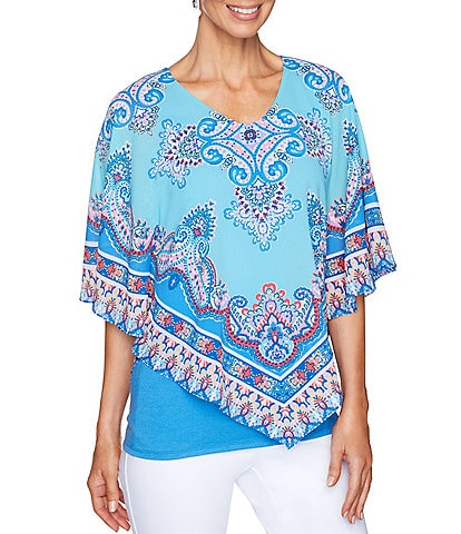 Ruby Rd. Scarf Print Scoop Neck Butterfly Top