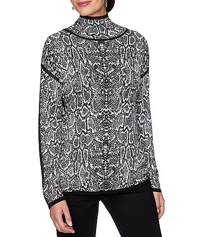 Ruby Rd. Snake Skin Print Textured Jacquard Contrast Trim Mock Neck Sweater