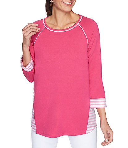 Ruby Rd. Solid-Coastal Stripe Silky French Terry 3/4 Cuffed Sleeve Jewel Neck Pullover