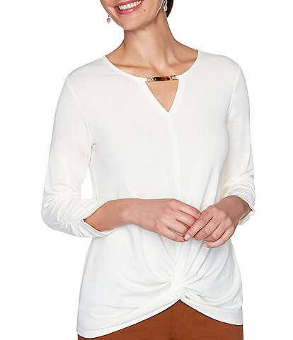 Ruby Rd. Solid Ruched 3/4 Sleeve Knot Front Hem Keyhole Top