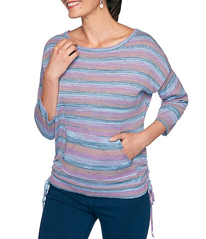 Ruby Rd. Striped Space Dye 3/4 Sleeve Cinched Side Sweater Knit Pullover