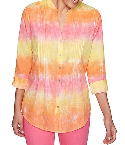 Ruby Rd. Tie Dye 3/4 Sleeve Button Front Pintuck Detail Cotton Top