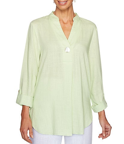 Ruby Rd. V-Neck Stand Collar Roll-Tab Sleeve Top