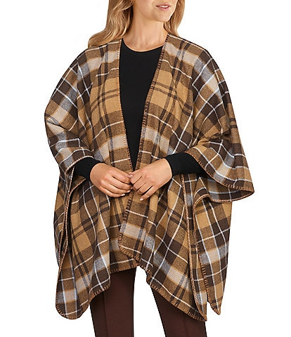 Ruby Rd. Yarn Dyed Brushed Plaid Open Front Bracelet Sleeve Cozy Poncho
