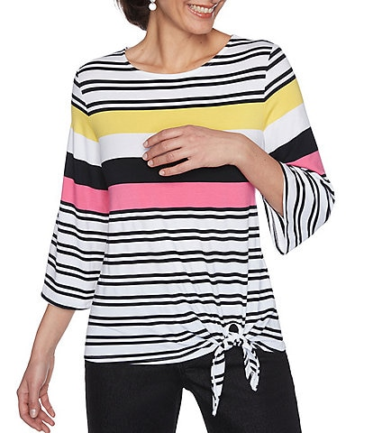 Ruby Rd. Yarn Dyed Colored Stripe Print Knit Flowy 3/4 Sleeve Side Tie Hem Top