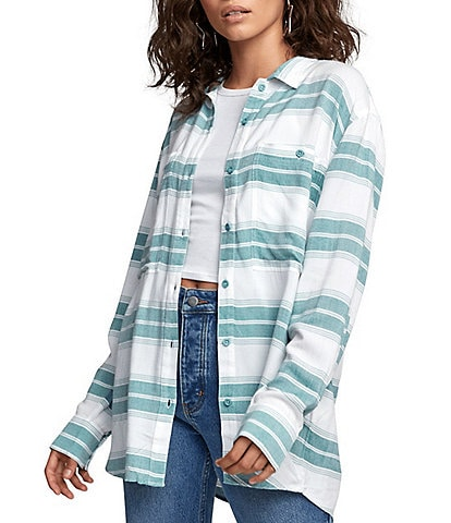 RVCA Cedar Long-Sleeve Striped Oversized Woven Shirt