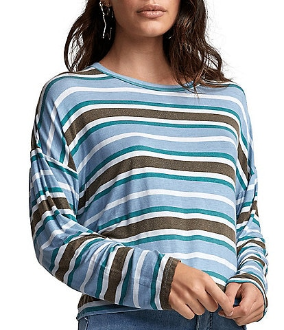 RVCA Countdown Long-Sleeve Striped Slightly Oversized Tee