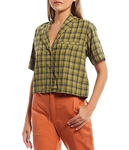 RVCA Jackson Short-Sleeve Yarn-Dyed-Plaid Cropped Woven Top