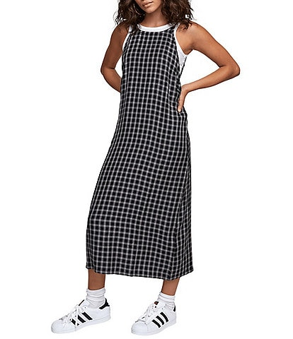 RVCA Jullian Sleeveless Yarn-Dyed-Plaid Midi Camisole Dress