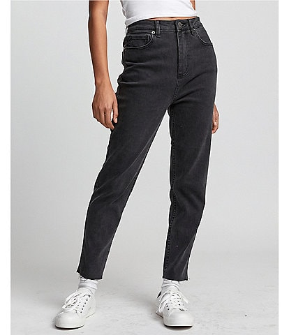 RVCA Tammy Five-Pocket Raw Hem Straight Leg Jeans