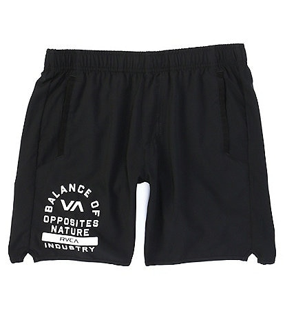 RVCA VA Sport Yogger lV Elastic Pull-On 17#double; Outseam Logo Print Athletic Shorts