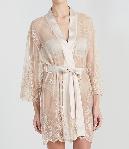 Rya Darling Allover Lace Banded Neck 3/4 Sleeve Short Wrap Robe