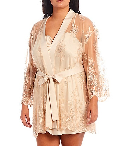 Rya Darling Plus Size Allover Lace Short Wrap Banded Collar 3/4 Sleeve Robe