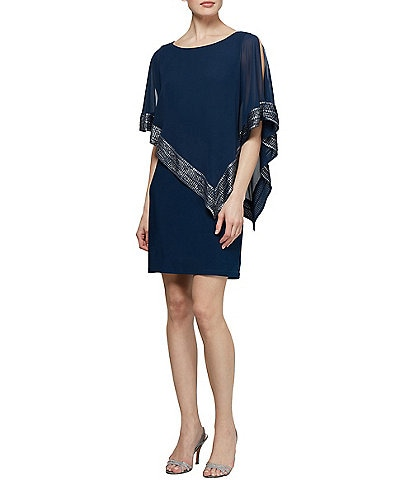 Ignite Evenings Foil-Trim Asymmetrical Hem Dress