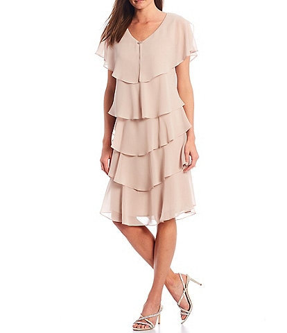 Ignite Evenings Georgette Tiered Capelet Dress