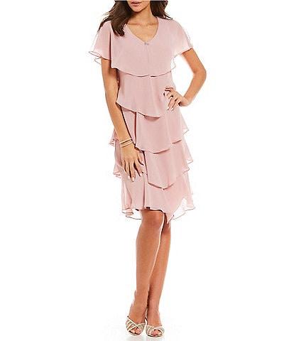 Ignite Evenings V-Neck Short Sleeve Georgette Tiered Capelet Dress