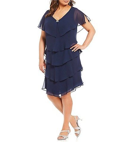 7d81e6641973 Ignite Evenings Plus Georgette Tiered Short Sleeve Capelet Dress