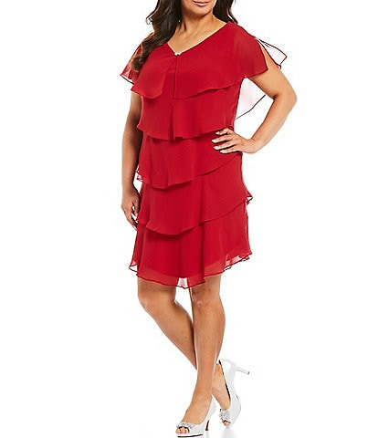 Ignite Evenings Plus Georgette Tiered Short Sleeve Capelet Dress