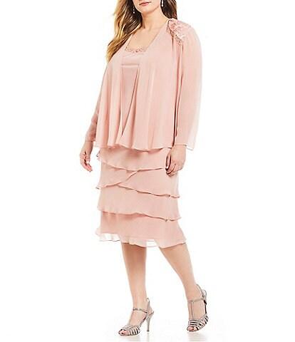 Ignite Evenings Plus Size Lace-Shoulder Chiffon Jacket Dress