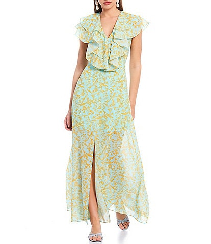Sachin & Babi Annemarie Ruffle Toile du Jouy Printed Georgette Front Slit Dress