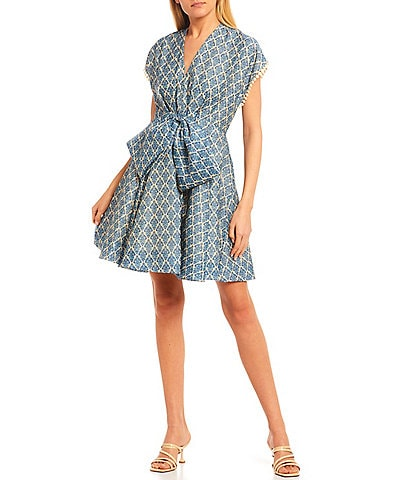Sachin & Babi Bailey Deep V-Neck Bow Front Printed Voile Dress
