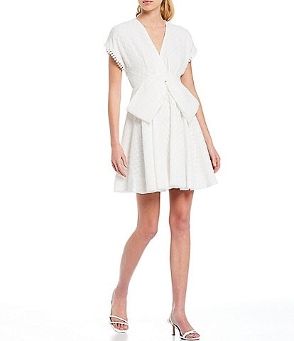 Sachin & Babi Bolton Deep V Bow Detail Short Sleeve Mini Dress