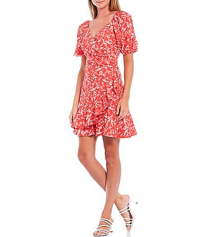 Sachin & Babi Catherine Puff Sleeve Ruffle Hem Faux Wrap Mini Dress