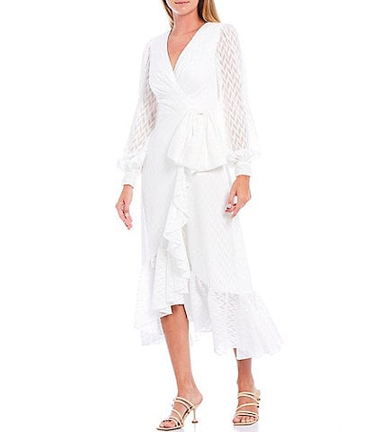 Sachin & Babi Connie Fil Coupe Chiffon Faux Wrap Long Sleeve V-Neck Midi Dress