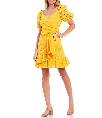 Sachin & Babi Davie Puff Sleeve Ruffle Mini Faux Wrap Eyelet Dress