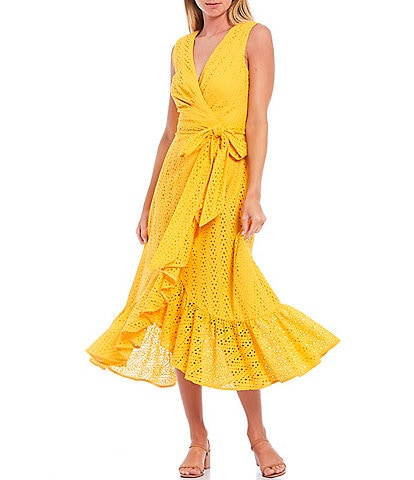 Sachin & Babi Diane V-Neck Sleeveless Ruffle Midi Wrap Dress
