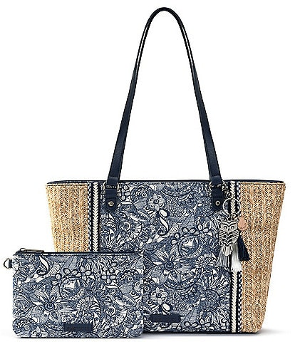 Sakroots Meadow Medium Zip Top Canvas Straw Tote