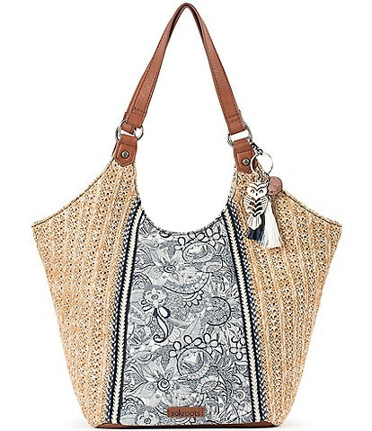 Sakroots Roma Straw Canvas Snap Hobo Tassel Bag