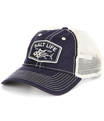 Salt Life Red White And Blufin Mesh Back Trucker Hat