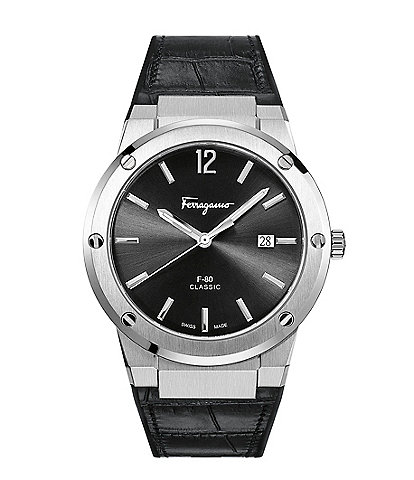 Salvatore Ferragamo F-80 Collection Black Calf Leather Watch