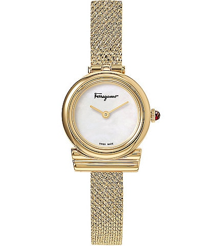 Salvatore Ferragamo Gancino Collection Petite Gold Mesh Watch