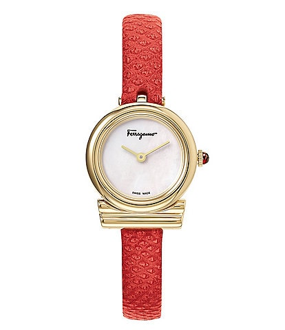 Salvatore Ferragamo Gancino Collection Petite Red Karung Leather Watch